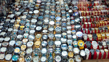 Counterfeit designer watches at a market in Russia