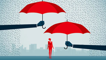 Illustrated image of a girl standing under two umbrellas representing how lines of credit serve as umbrellas from a rainy day
