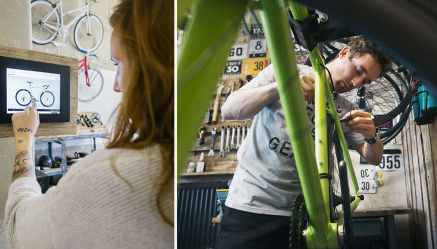 Customers choosing customizable bikes at a bike shop