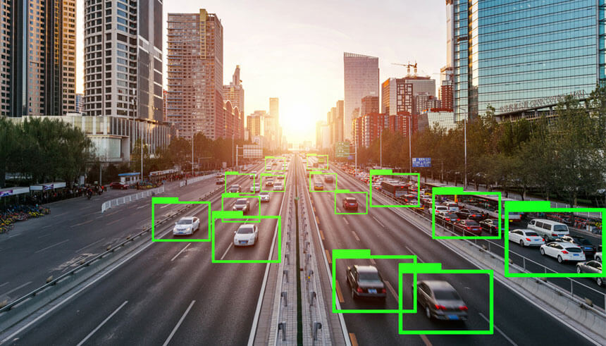 A view of the road with autonomous driving cars