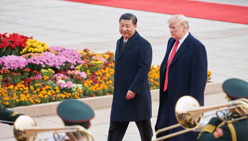 China's President Xi Jinping and US President Donald Trump during a meeting outside the Great Hall of the People in Beijing
