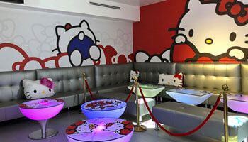 Inside Hello Kitty-themed Energy Bistro & Karaoke in Southern California