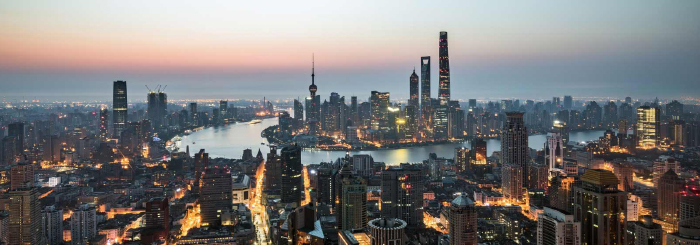 Aerial view of Shanghai China in the evening