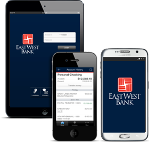 East West Bank Mobile Banking App on a tablet, iPhone, and Android mobile phone