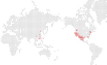 Map of world with red dots of East West Bank locations