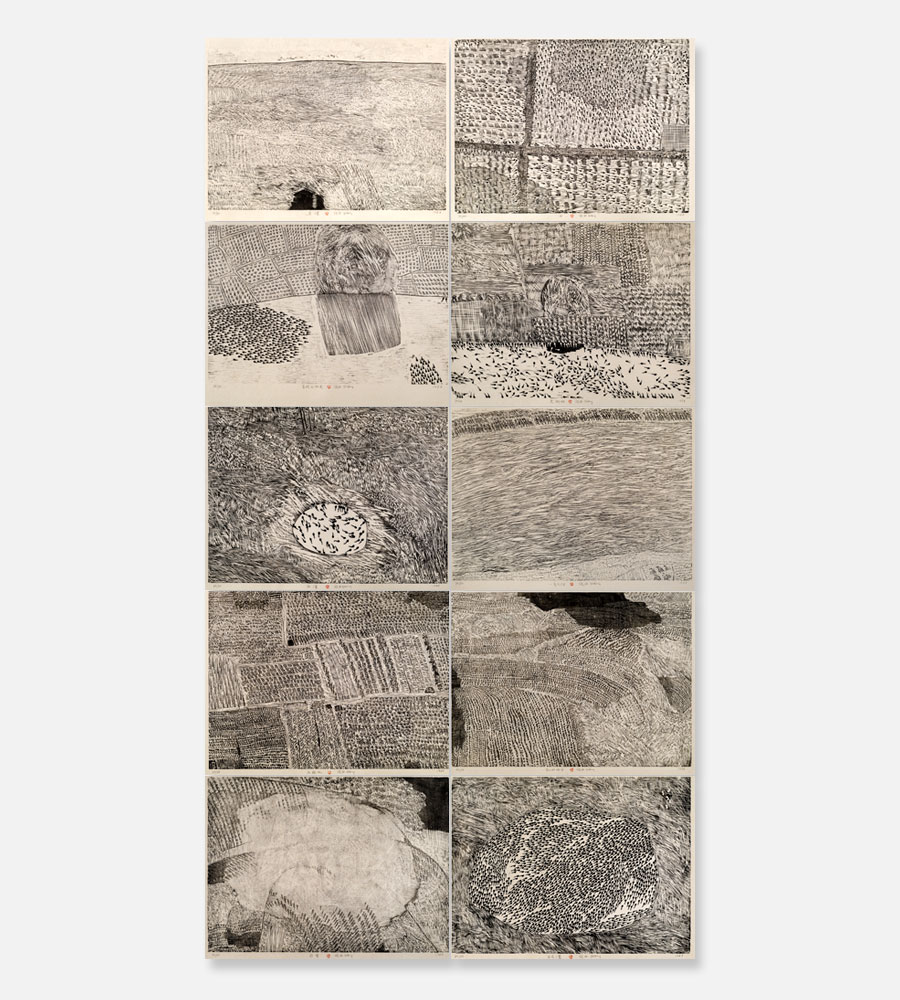 SERIES OF REPETITIONS, 10 WOODBLOCK PRINTS