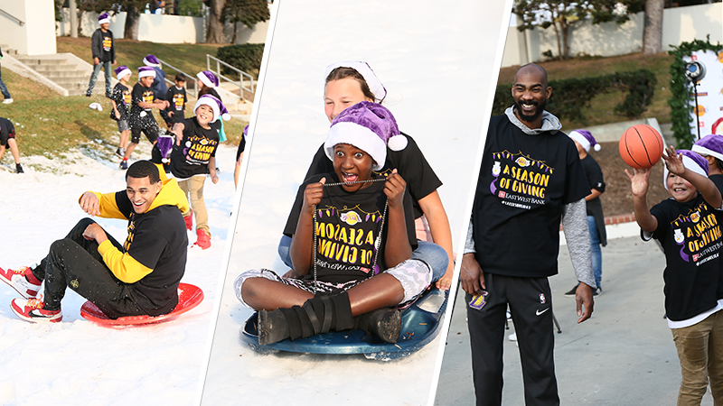 Students enjoy a day of play in the snow, holiday treats, and games with the Lakers players.
