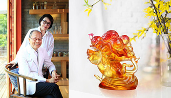 Liuli co-founder Loretta Yang with a crystal orchid