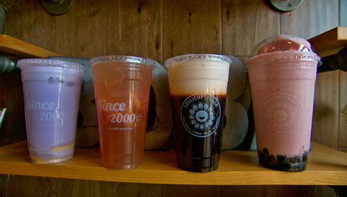 Four Diffe Kinds Of Lollicup Boba Drinks On The Shelf